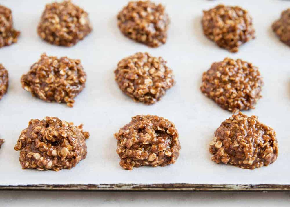 no bake cookies on baking sheet