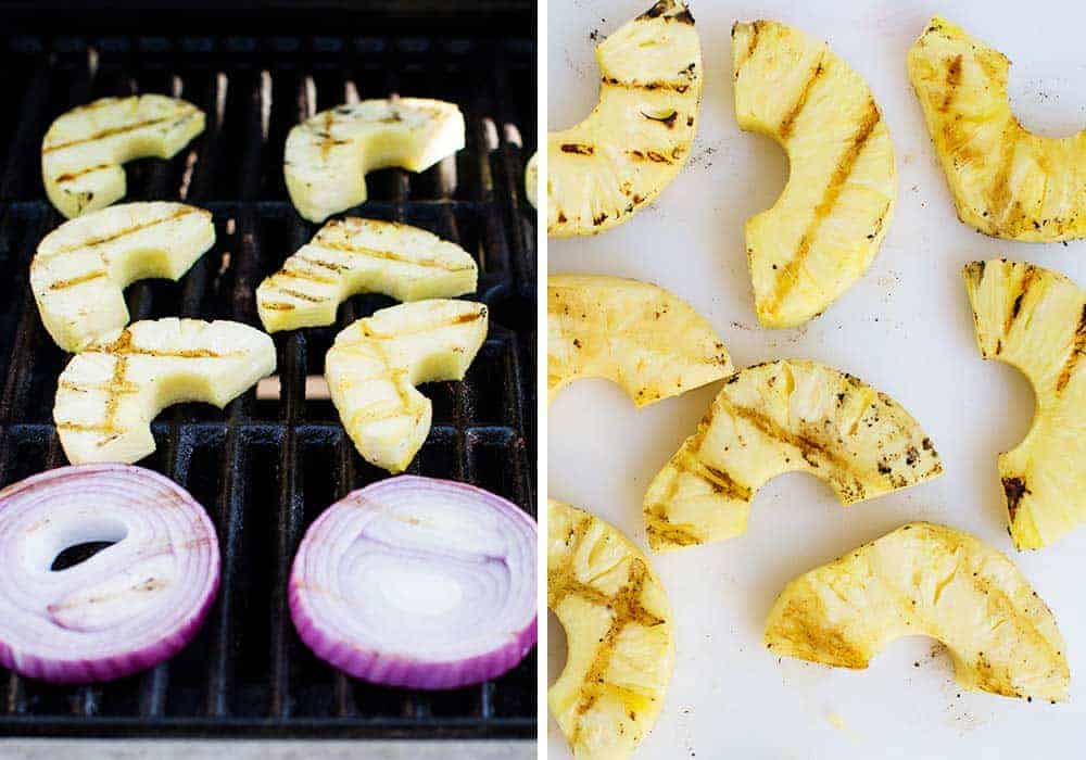 pineapple and onion slices on the grill