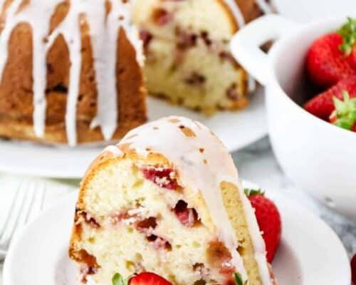 strawberry bundt cake on white plate