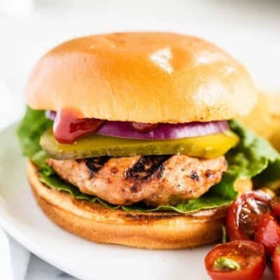 turkey burger on a white plate