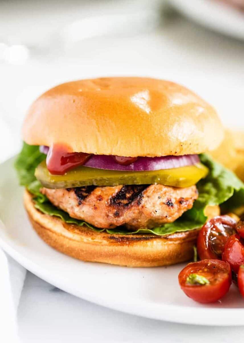 turkey burger on a white plate