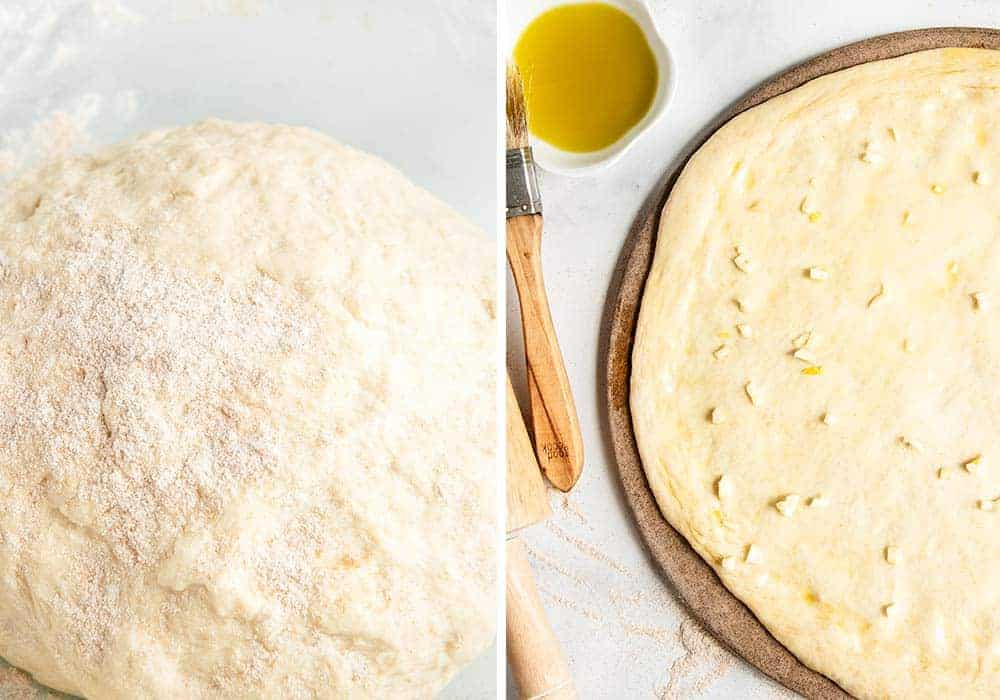 spreading olive oil and minced garlic on top of whole wheat pizza dough