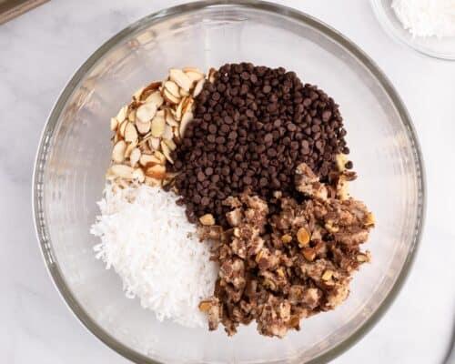 almond joy cookie dough ingredients in bowl