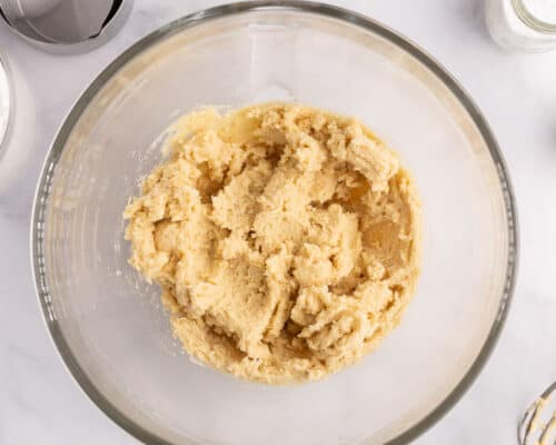 butter and sugar mixed in bowl