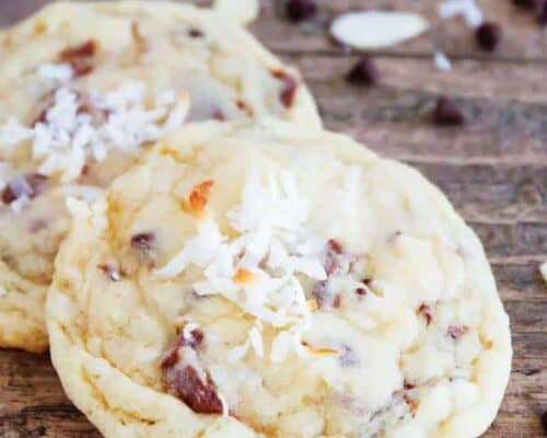 A close up of almond joy cookies