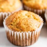 a close up of a banana muffin