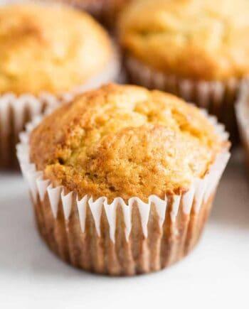 a close up of a banana muffin