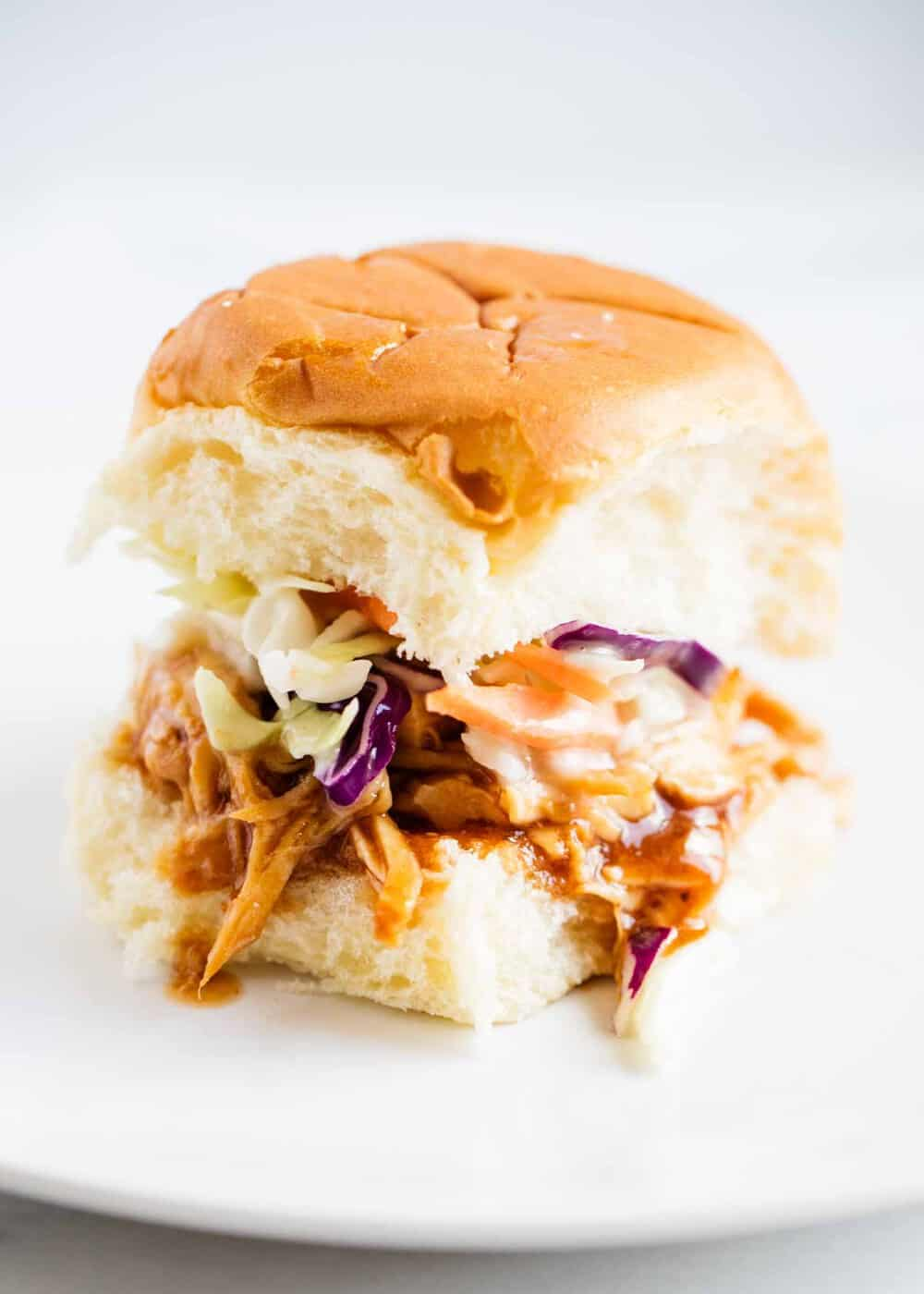 bbq pulled chicken slider with coleslaw