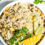 chicken quinoa salad with mango, lime and cilantro
