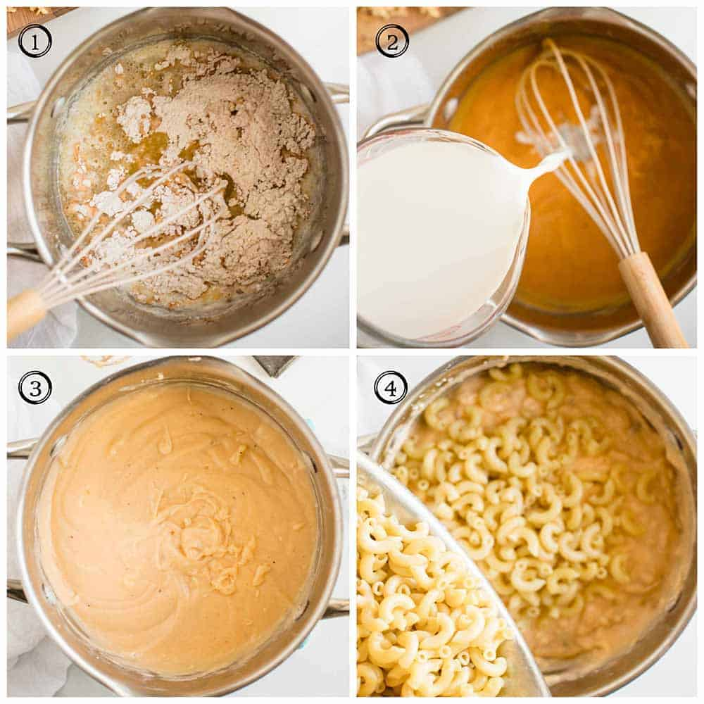 steps showing how to make gouda mac and cheese