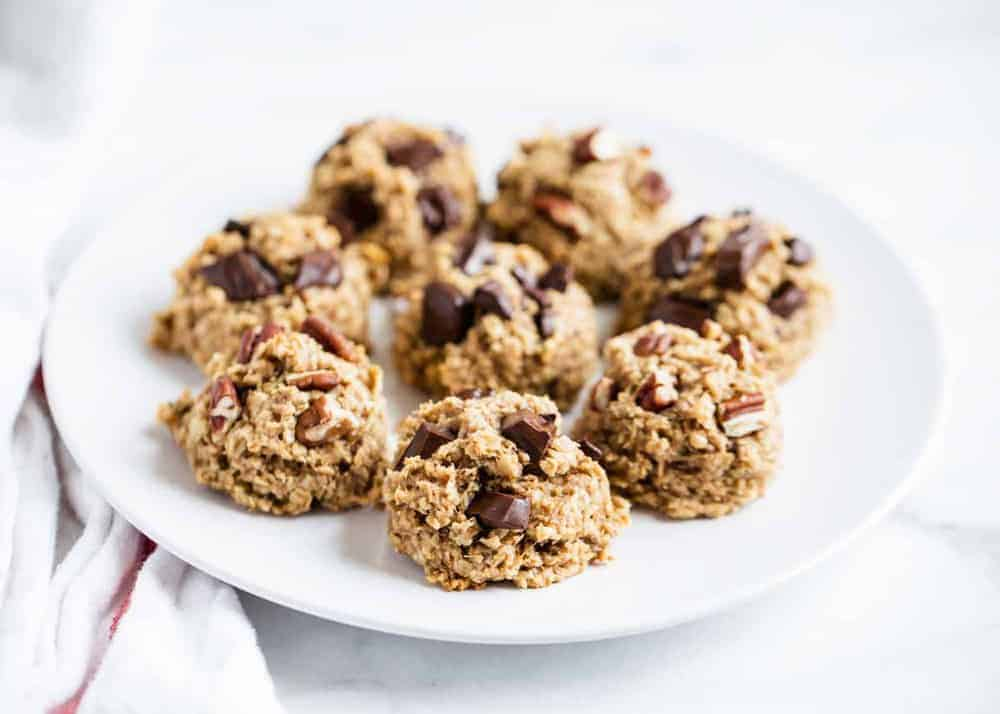 plate full of healthy oatmeal cookies