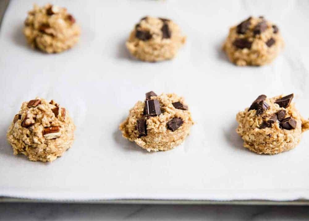 healthy oatmeal cookies on baking sheet