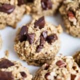 A close up of a healthy oatmeal cookie with chocolate chunks