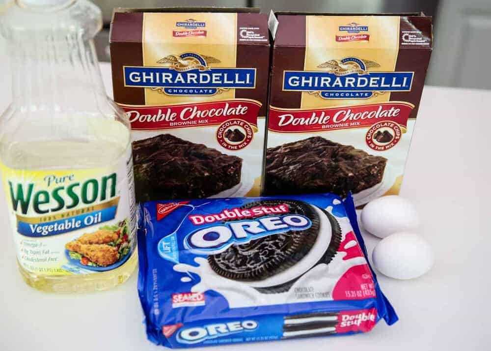ingredients for oreo brownies on counter