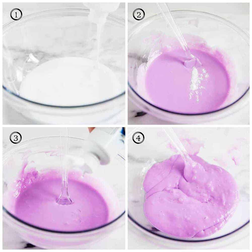step by steps to make slime with glue