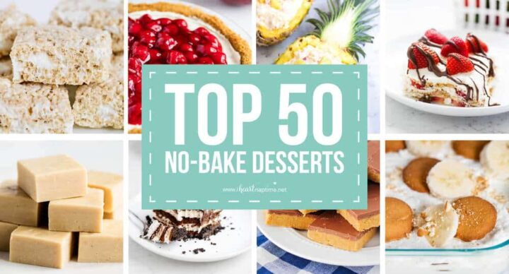 collage of no-bake desserts