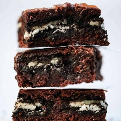 stack of oreo brownies