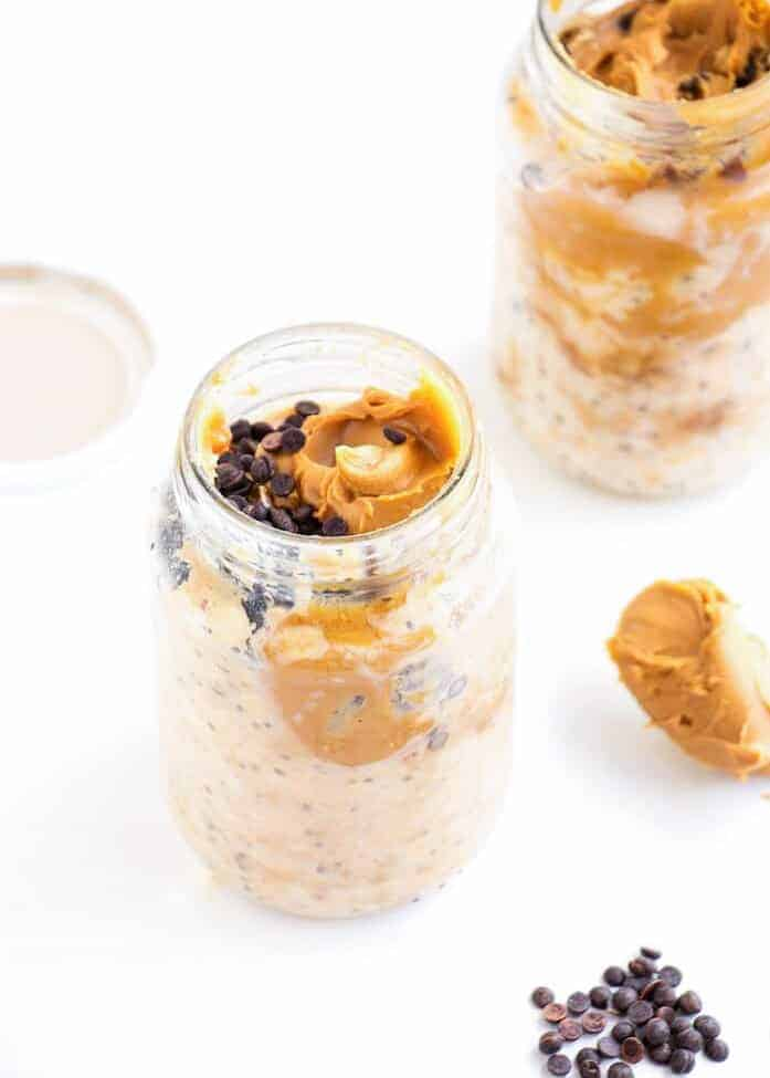 peanut butter overnight oats in a mason jar
