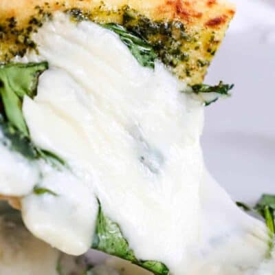 pesto pizza with melted cheese
