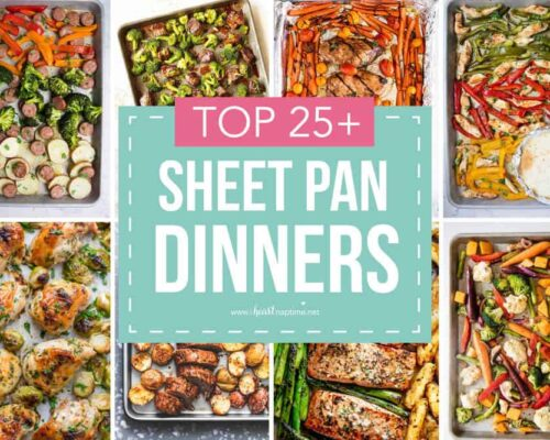collage of sheet pan dinners
