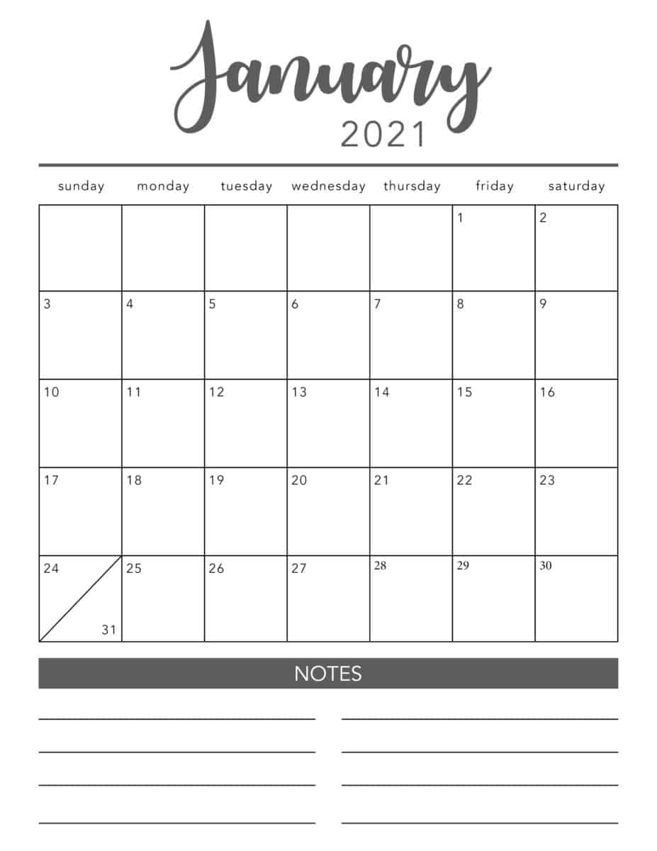 FREE 2021 Printable Calendar Template (2 colors!)   I Heart Naptime