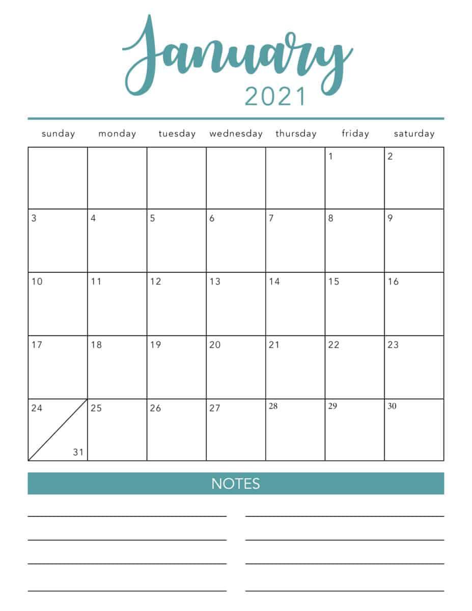 January 2021 turquoise calendar
