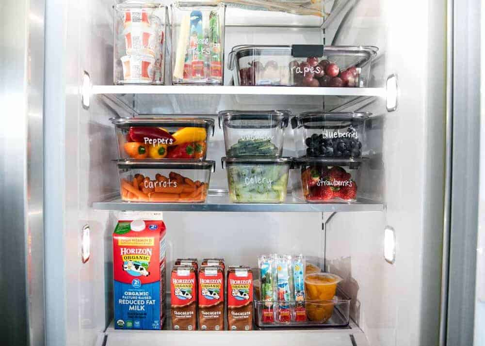 Organized fridge with bins