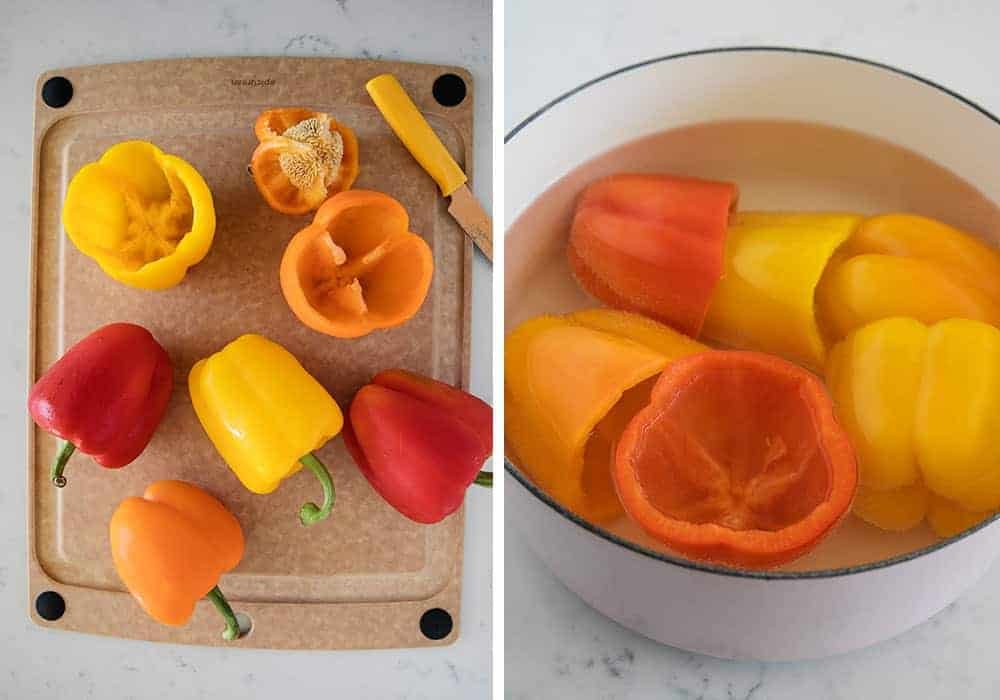cutting and boiling bell peppers