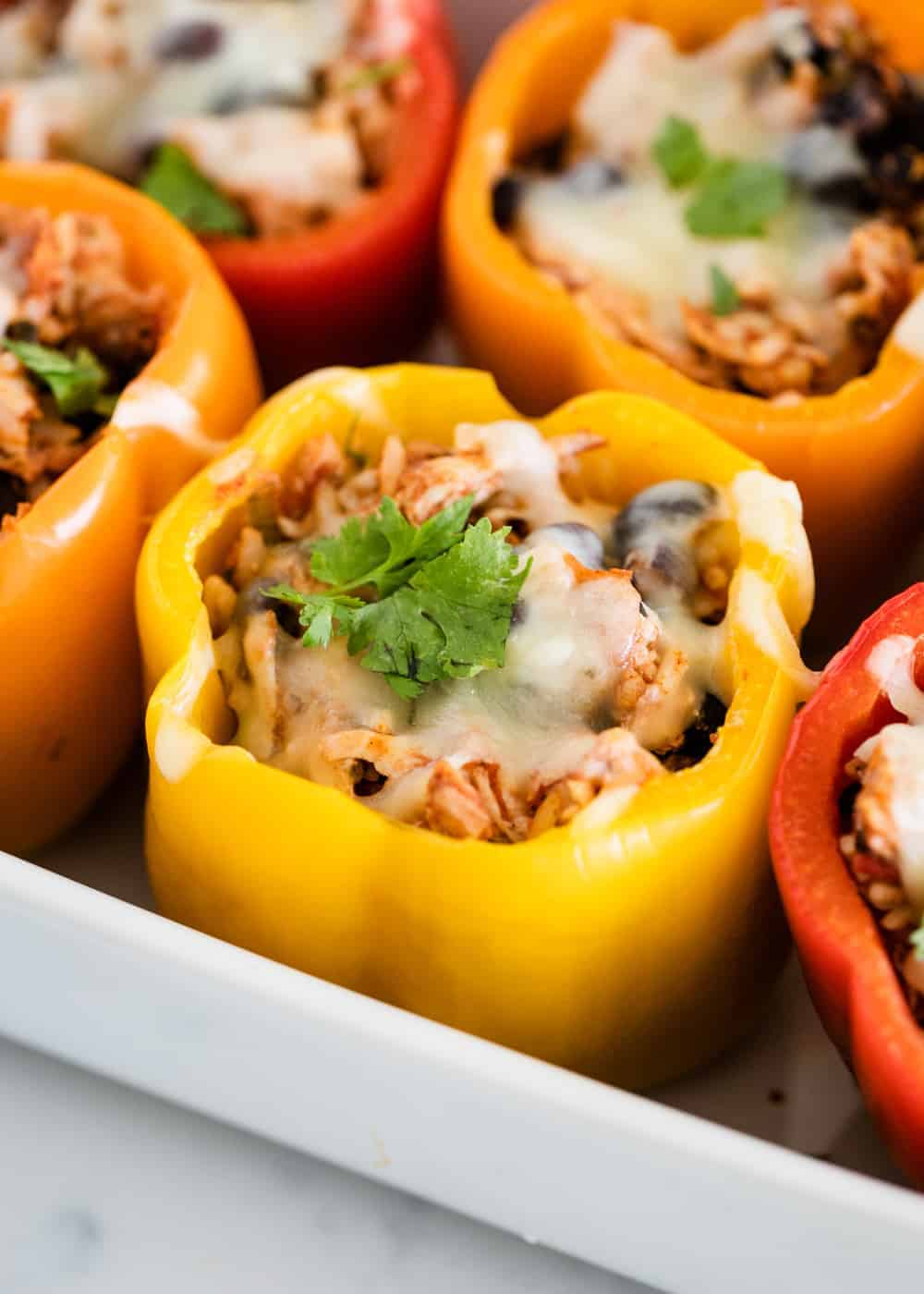 shredded chicken stuffed bell pepper topped with cheese and cilantro