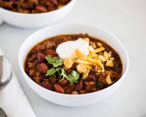 homemade chili in a white bowl