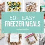 collage of freezer meals