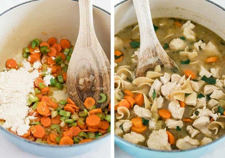 cooking chicken noodle soup in pot