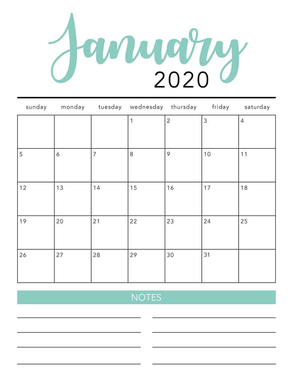 free 2020 printable calendar template  2 colors