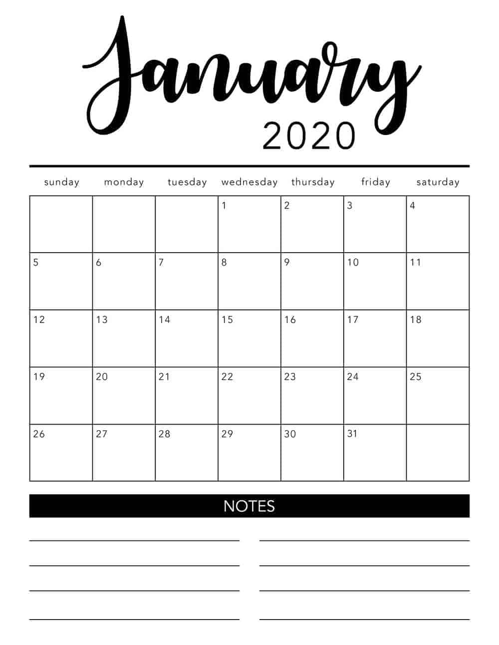 photograph relating to Printable Monthly Calendars identified as Totally free 2020 Printable Calendar Template (2 colours!) - I Center