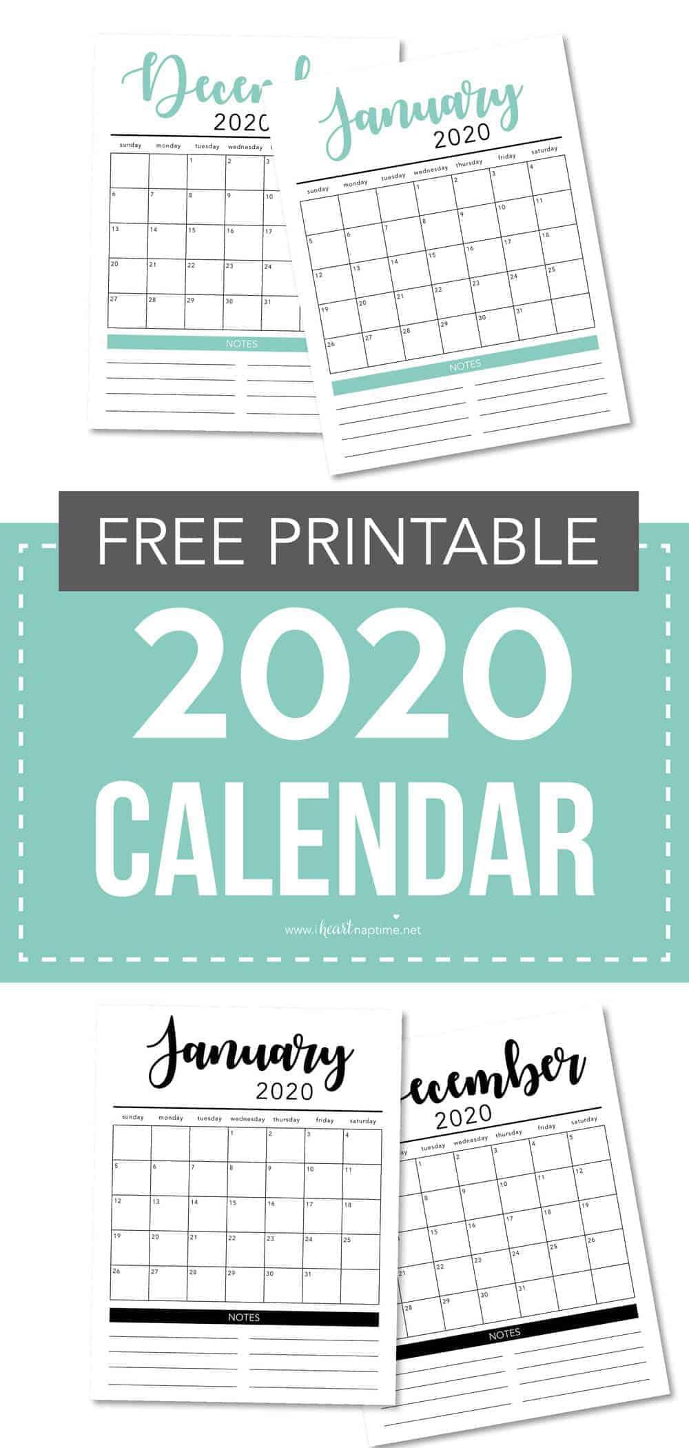 free 2020 printable calendar template  2 colors