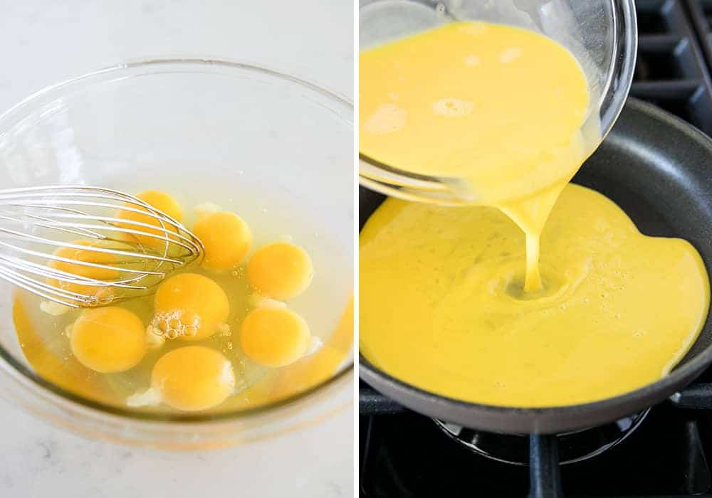 whisking eggs in bowl for scrambled eggs