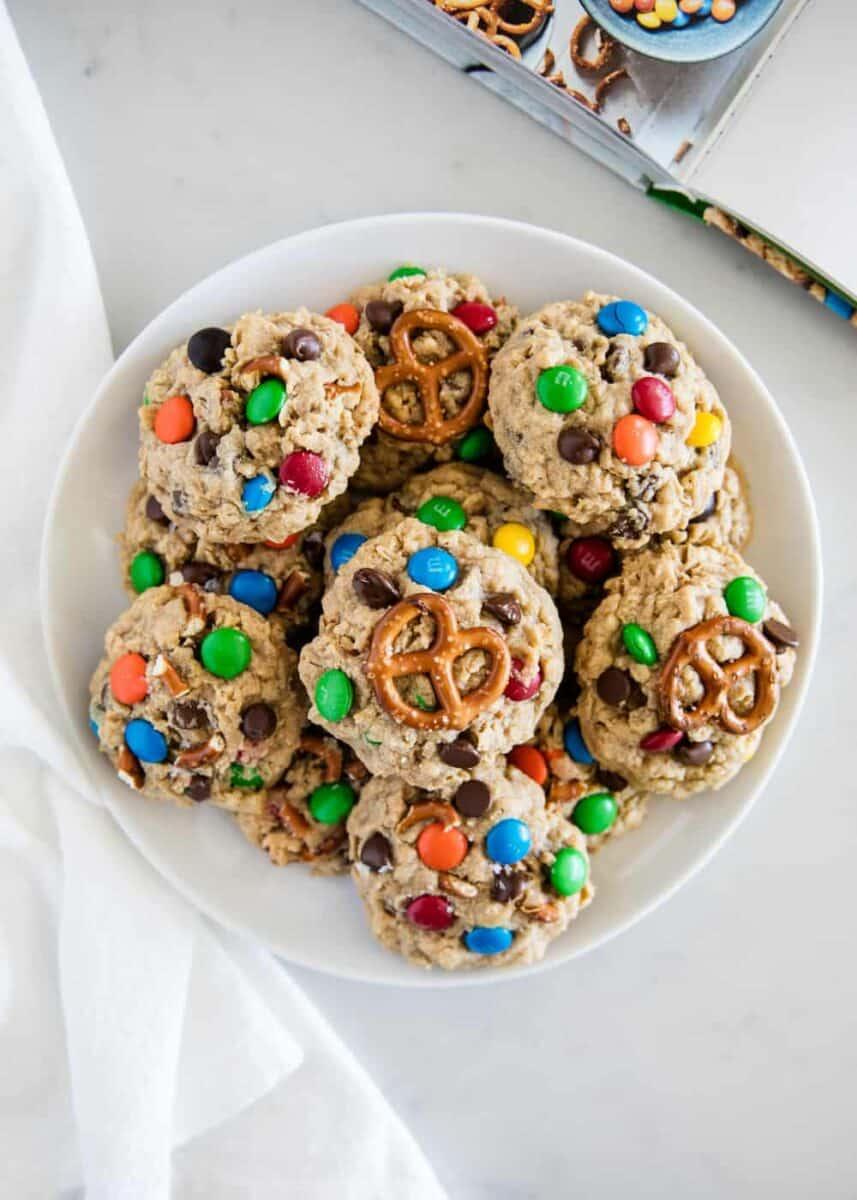 bowl full of monster cookies