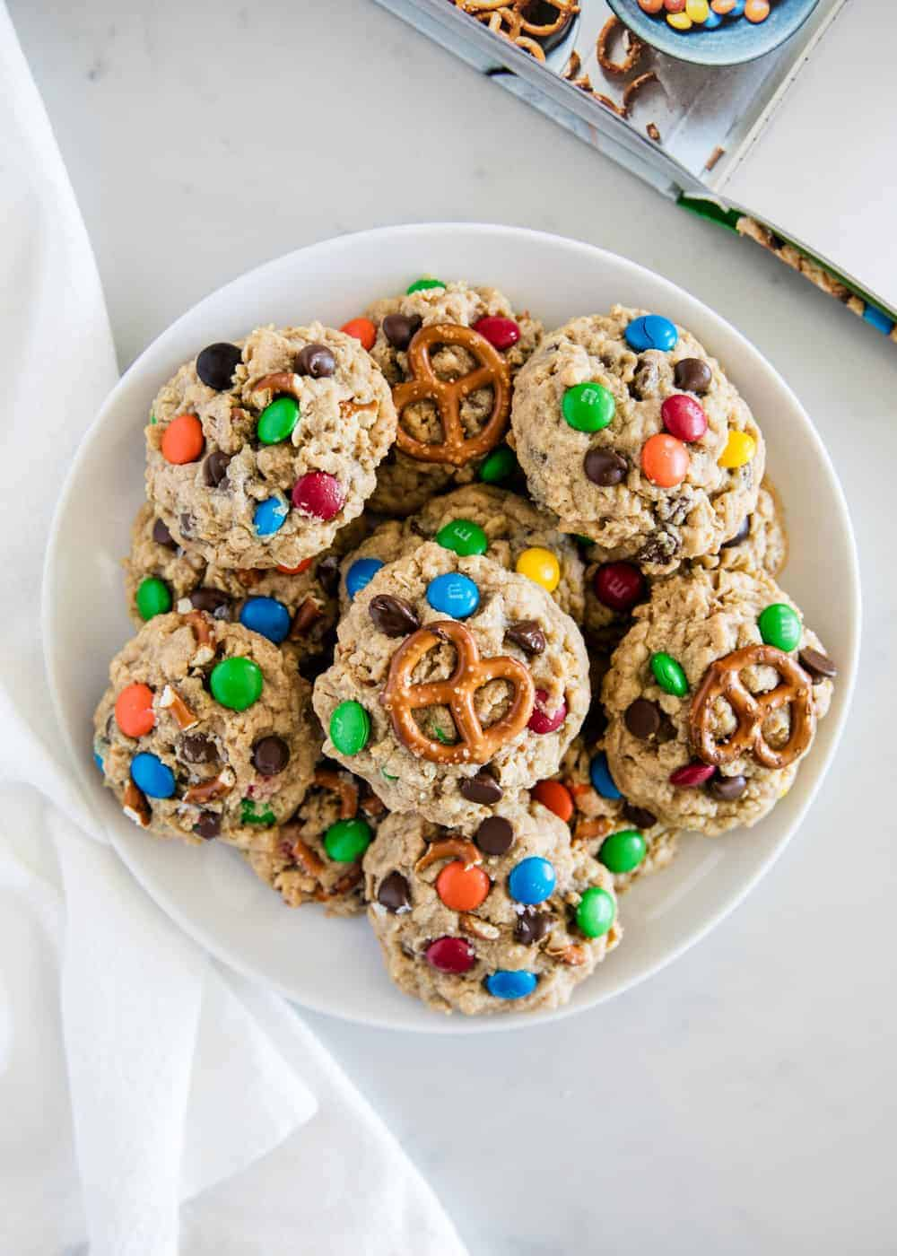 bowl full of monster cookies with pretzels