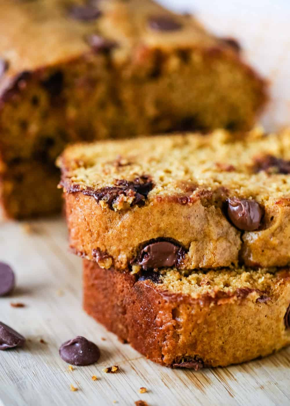 sliced pumpkin chocolate chip bread