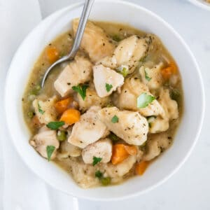 chicken and dumplings in a white bowl with spoon