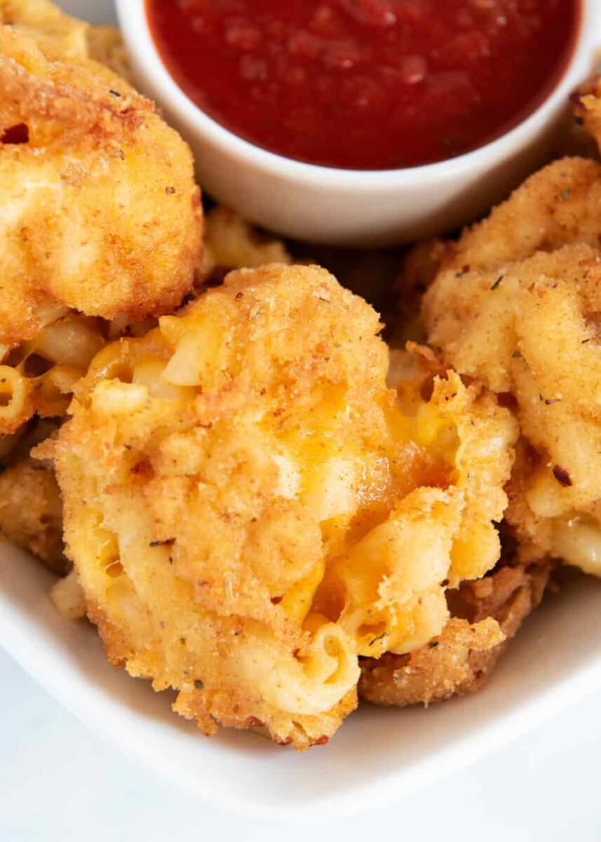 fried mac and cheese with marinara