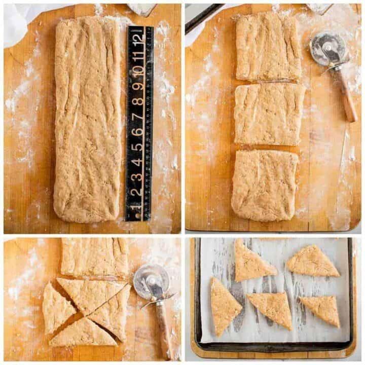 cutting dough into triangles for pumpkin scones