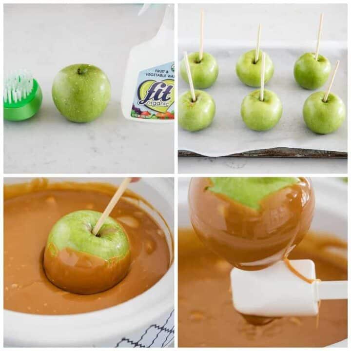 how to dip caramel apples