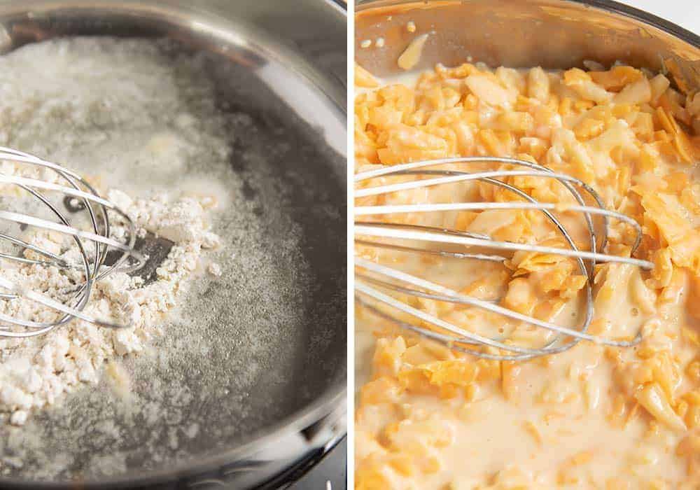 whisking together cheese mixture for fried macaroni