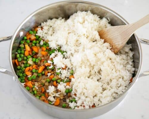 cooking fried rice in pan