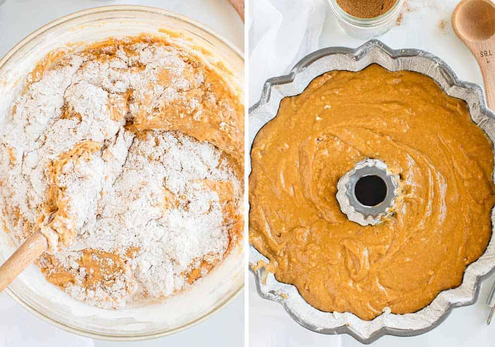 mixing together batter for pumpkin bundt cake