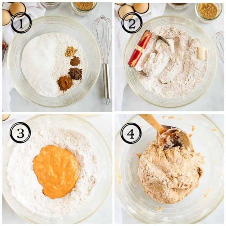 collage showing how to make dough for pumpkin scones