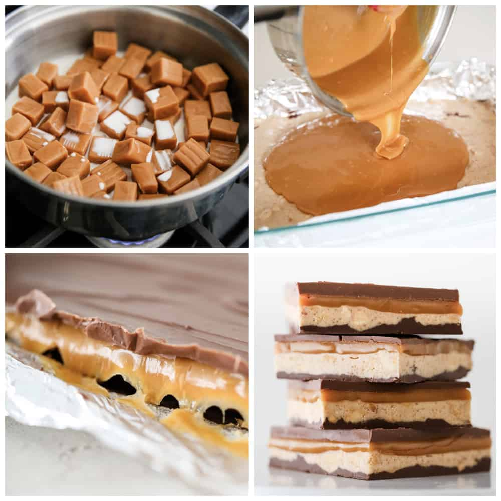 collage showing how to make snickers