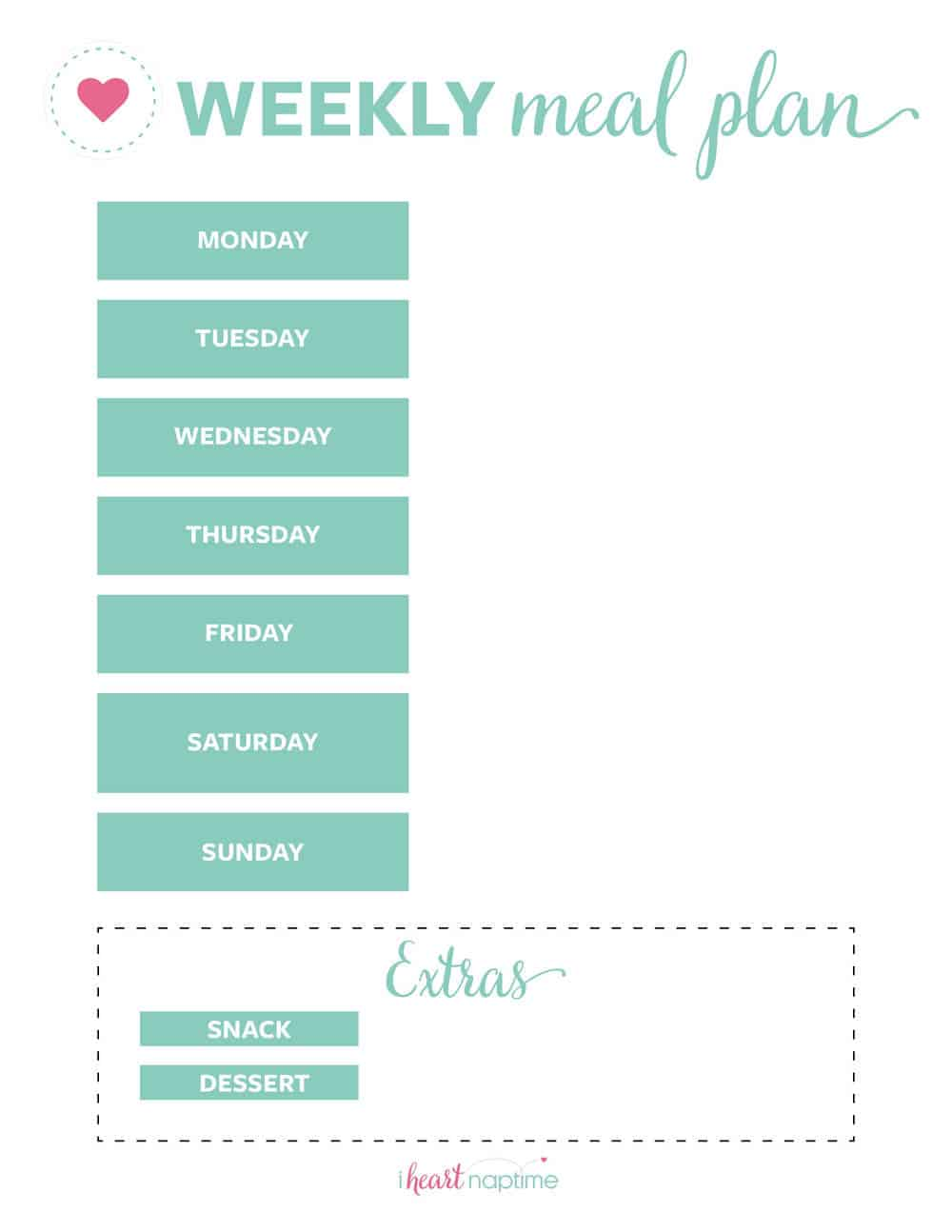 photograph relating to Free Printable Meal Planner Template referred to as Cost-free Printable Weekly Evening meal Software Templates - I Centre Naptime