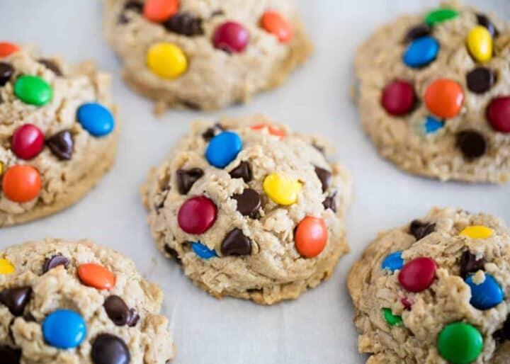 monster cookies on pan